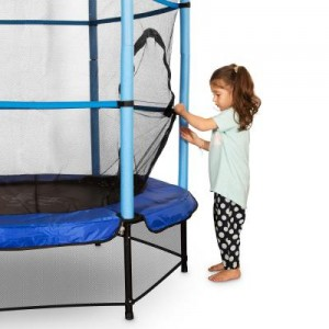Klarfit-Rocketkid-Trampoline-140cm-Filet-de-securite-bleu